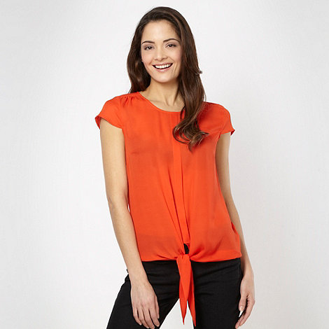 The Collection Petite - Petite orange woven tie front top