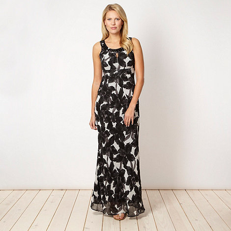 The Collection Petite - Petite black monochrome floral maxi dress