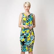 Lime ikat floral jersey dress