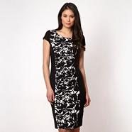 Black ruched floral jersey dress