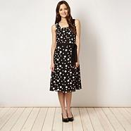 Petite black spotted chiffon dress