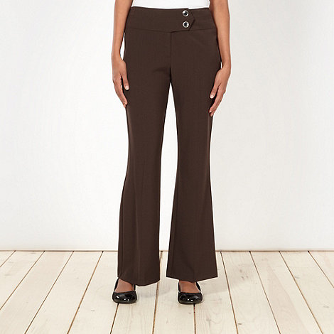 The Collection Petite - Petite brown smart bootcut trousers