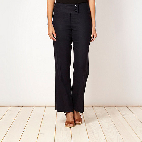 The Collection Petite - Petite navy linen blend trousers