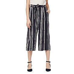 The Collection - Navy striped print culottes