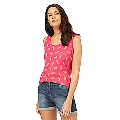 The Collection - Pink pineapple print pocket vest top