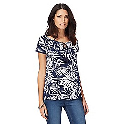 The Collection - Navy palm leaf print bubble hem top