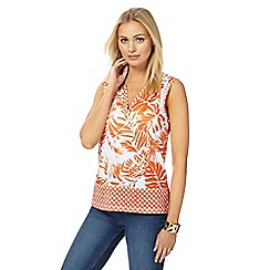 The Collection - Orange palm print notch neck top