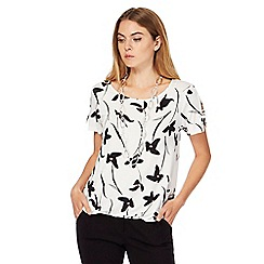 The Collection - White daisy print bubble hem top