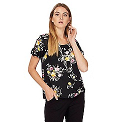 The Collection - Black floral print bubble hem top