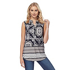 The Collection - Black and white tile print sleeveless tunic