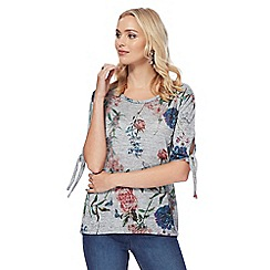 The Collection - Grey floral print tie sleeves top