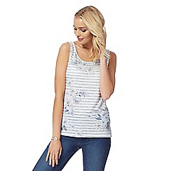 The Collection - White and blue floral striped vest top