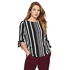 The Collection - Black striped tie sleeves top