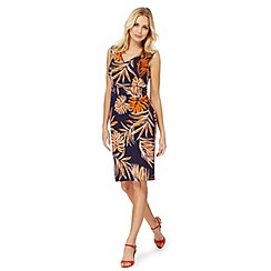 The Collection - Orange palm print plus size dress