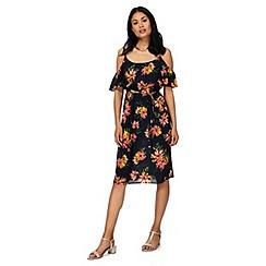 The Collection - Blue floral print cold shoulder knee length plus size dress