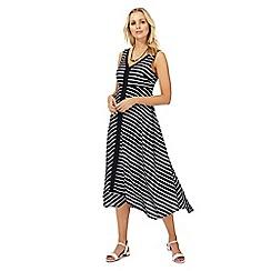 The Collection - Navy striped v-neck midi dress