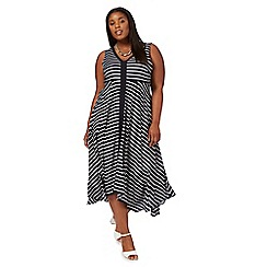 The Collection - Navy striped v-neck plus size midi dress