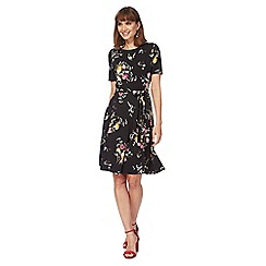 The Collection - Black floral print knee length skater dress