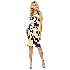 The Collection - Yellow floral abstract print plus size dress