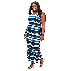 The Collection - Blue striped full length plus size maxi dress