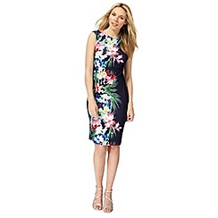 The Collection - Navy floral print plus size bodycon dress