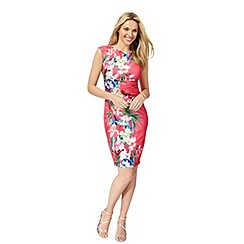 The Collection - Bright pink floral print plus size bodycon dress
