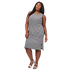 The Collection - Navy striped knee length plus size shift dress