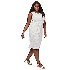 The Collection - Grey striped knee length plus size shift dress
