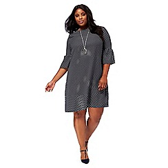 The Collection - Black spotted print plus size shift dress