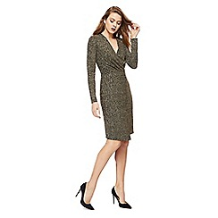 The Collection - Gold glitter V-neck long sleeve knee length wrap dress