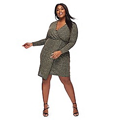The Collection - Gold glitter V-neck long sleeve knee length plus size wrap dress