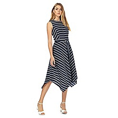 The Collection - Navy striped midi prom dress