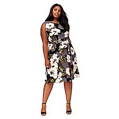 The Collection - Multi-coloured floral print knee length plus size prom dress
