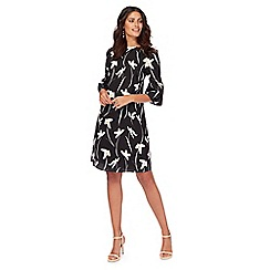 The Collection - Black floral flute sleeves shift dress