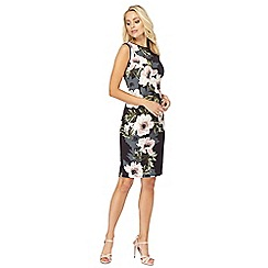 The Collection - Multi-coloured floral print scuba pencil dress