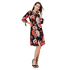 The Collection - Black floral print round neck tunic dress