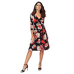 The Collection - Black floral print jersey V-neck midi wrap dress