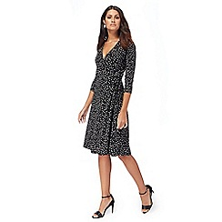 The Collection - Black spotted wrap dress