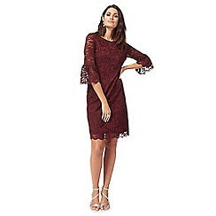 The Collection - Wine red lace flute sleeves knee length shift dress
