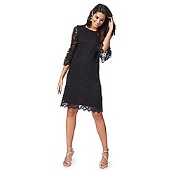 The Collection - Black lace flute sleeves knee length shift dress