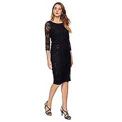 The Collection - Black lace round neck knee length plus size dress