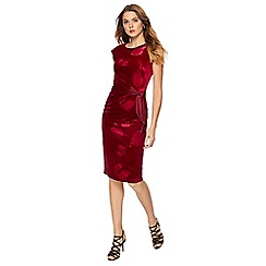 The Collection - Red embossed floral velvet knee length plus size dress