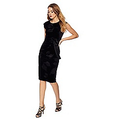 The Collection - Black velvet floral sleeveless knee length dress