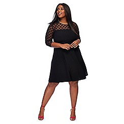 The Collection - Black 3/4 sleeve knee lengthplus size  dress
