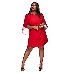 The Collection - Red long sleeve knee length plus size shift dress