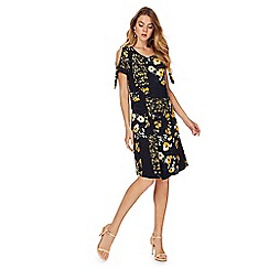 The Collection - Navy floral patch print cold shoulder shift dress