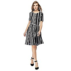 The Collection - Black striped knee length dress