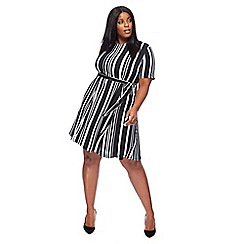 The Collection - Black striped plus size knee length dress