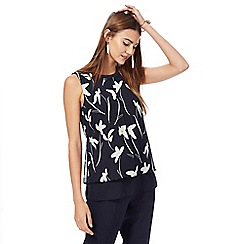 The Collection - Navy floral print layered top