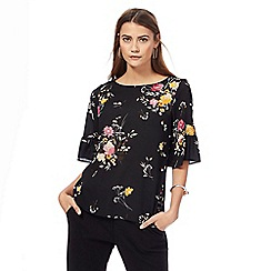The Collection - Black floral print bell sleeves top